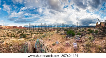 Panoramic view of the red rocks area in northern New Mexico - stock photo