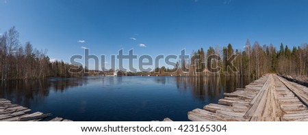 Panoramic view of the reservoir to the hydroelectric power plant - stock photo