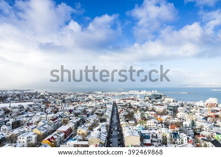 Panoramic view of the Reykjavik city in winter. View from the top of Hallgrimskirkja church, Iceland.