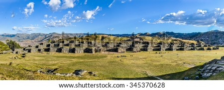 Panoramic view of the ruins of the fortress of Saqsaywaman near Cusco, the sacred capital of the Incas, Peru - stock photo