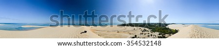 Panoramic view of the sand dunes of Bazaruto Island, Mozambique. - stock photo