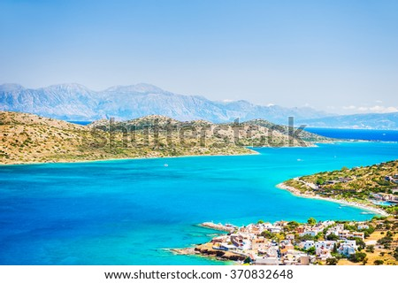 Panoramic view of the sea coast with turquoise water. East coast of Crete island, Greece. - stock photo