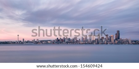 Panoramic view of the Seattle skyline from Alki Beach Park in Seattle, Washington - stock photo