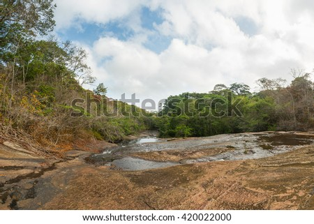 Panoramic view of the top of Salto El Mono (Monkey Falls), at Casacoima river, located in Imataca Forest Reserve, in Delta Amacuro state, in eastern Venezuela.