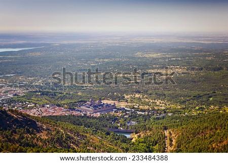 Panoramic view of the town El escorial, Madrid, Spain - stock photo