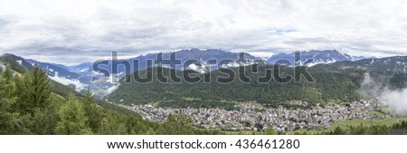 Panoramic view of the town of Aprica in the province of Sondrio, Lombardy, northern Italy. It is located at the foot of the Bergamasque Alps near the pass connecting Valtellina to Val Camonica