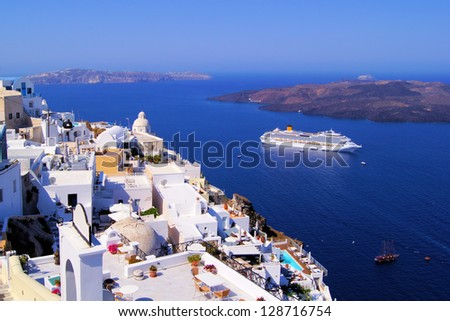 Panoramic view of the town of Fira, Santorini, Greece - stock photo