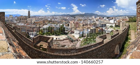 Panoramic view of the town of Malaga as seen from the Alcazaba, Andalusia, Spain
