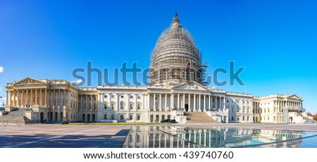 Panoramic view of the US Capitol in Washington, DC - stock photo