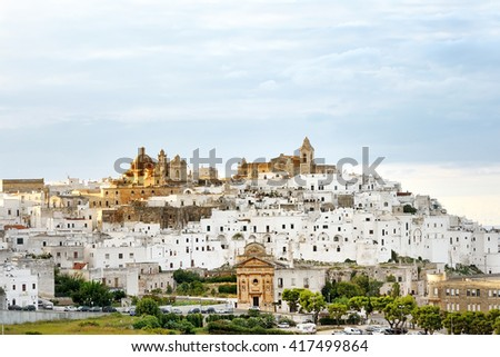 panoramic view of the white city Ostuni, Apulia, mediterranean southern Italy - stock photo