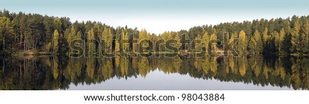 Panoramic view of the wild forest lake with trees reflections. Golden autumn - stock photo