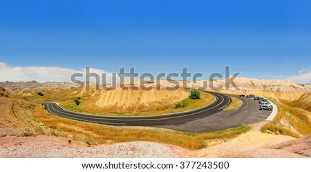 Panoramic view of the Yellow Mounds in Badlands National Park, South Dakota, USA - stock photo