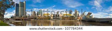 Panoramic view of the Yerra river, Southbank and south wharf from Batman park in Melbourne - stock photo