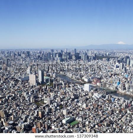 Panoramic view of Tokyo in Japan - stock photo