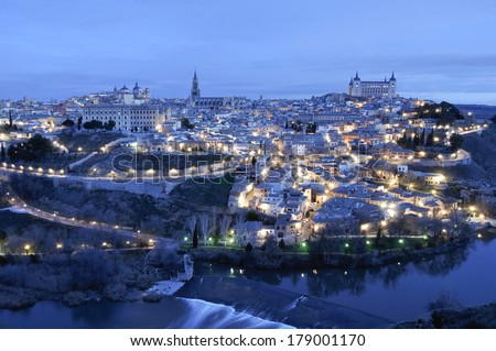 Panoramic view of Toledo at dawn (Spain) - stock photo