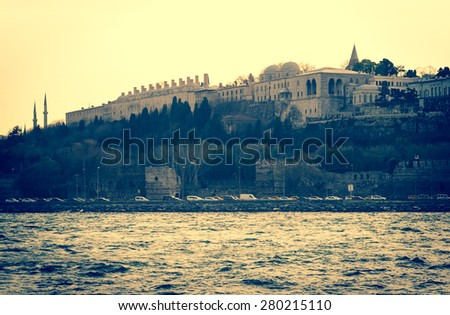 Panoramic view of Topkapi Palace in Istanbul. Ottoman palace on Bosporus, famous turkish landmarks, tourist location for travel in Turkey. - stock photo