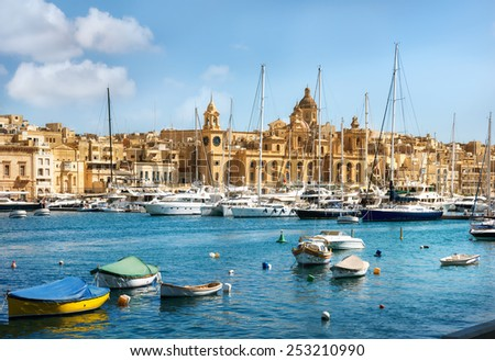 Panoramic view of town and harbour. Valletta. Malta - stock photo