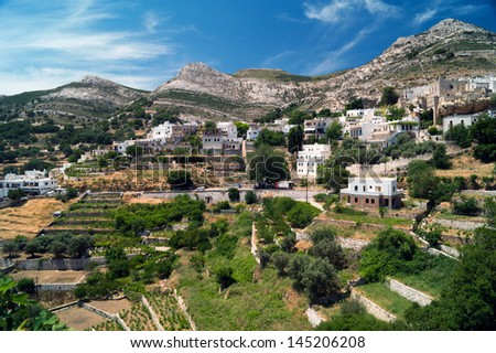 Panoramic view of traditional village on Naxos island, Greece - stock photo