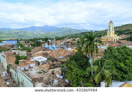 Panoramic view of Trinidad, Cuba. City of Trinidad is a UNESCO World Heritage Site - stock photo