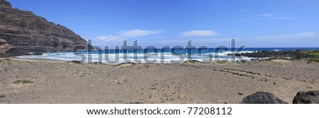 Panoramic view of tropical beach on the island of Lanzarote ( Canary Islands ) - stock photo