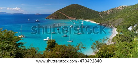 Panoramic view of tropical shoreline in British Virgin Island (BVI), Caribbean