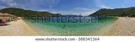 Panoramic view of tuquoise waters Antisamos Beach in Greek Kefalonia Island - stock photo