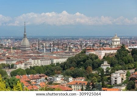 panoramic view of Turin cityscape