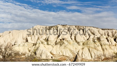 Panoramic View of Unique Rock Formations in Valley of Cappadocia in the Anatolian Region of Central Turkey