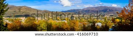 Panoramic view of Vanadzor, Armenia - stock photo