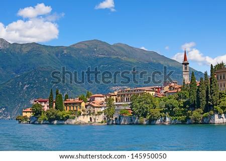 Panoramic view of Varenna town (Como lake, Italy) - stock photo