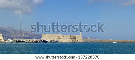 Panoramic view of venetian fortress Koules in Heraklion, Crete. - stock photo