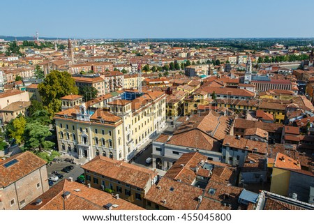 Panoramic view of Verona city in Italy. View of the red roofs in romantic city. Verona is a popular tourist destination of Europe. - stock photo