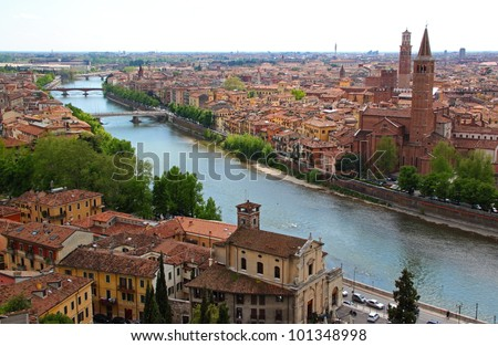 Panoramic view of Verona, Italy (are visible the Santa Anastasia Church and the Lamberti Tower) - stock photo