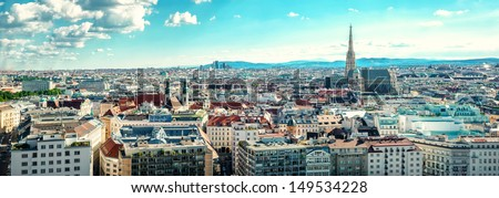 Panoramic view of Vienna city. Austria  - stock photo