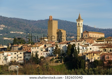 Panoramic view of Vinci town in Tuscany, Italy
