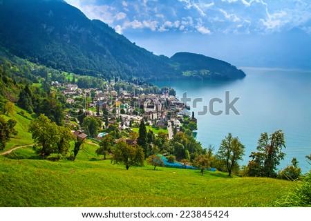 Panoramic view of Vitznau, Switzerland - stock photo