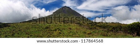 Panoramic view of Volcano Mount Pico at Pico island  Azores - stock photo
