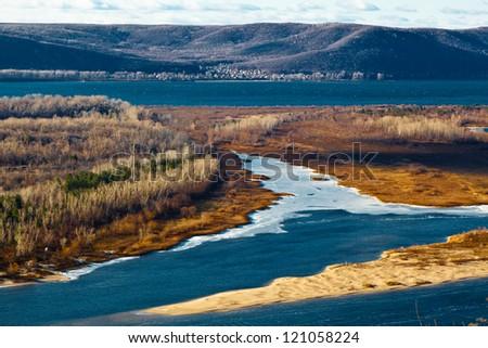 Panoramic View of Volga River Bend near Samara, Russia - stock photo