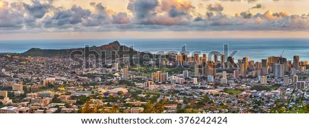 panoramic view of Waikiki and Diamond Head from Tantalus lookout in the Puu Ualakaa State Park, Honolulu, Oahu, Hawaii - stock photo