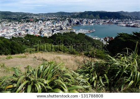 Panoramic view of Wellington harbor from Mt Victoria lookout in Wellington New Zealand. - stock photo
