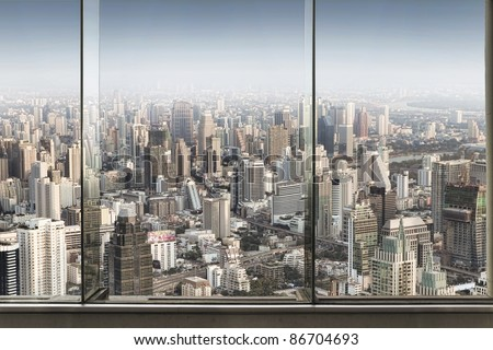 panoramic view of  window and nice big city - stock photo