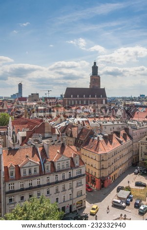 Panoramic view of Wroclaw - stock photo