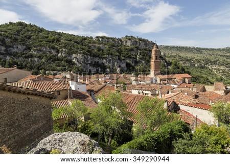 Panoramic view of Xiva de Morella - stock photo