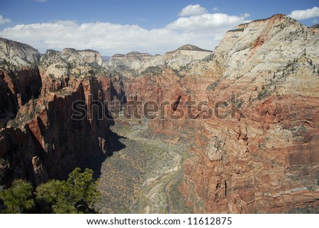 Panoramic view of Zion Canyon from Angels Landing in Zion National Park, Utah - stock photo