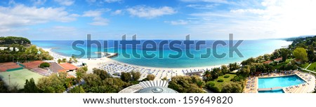 Panoramic view on a beach at the modern luxury hotel, Halkidiki, Greece - stock photo