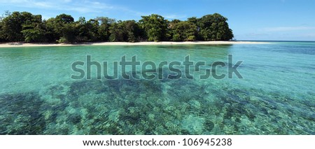 Panoramic view on a pristine island with white sandy beach and its lagoon, Caribbean, cayos Zapatilla, Bocas del Toro, Panama