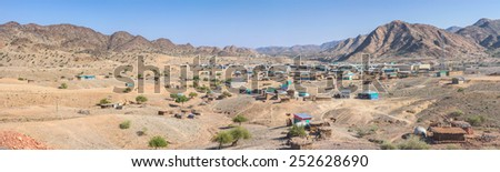 Panoramic view on a small Ethiopian village - stock photo