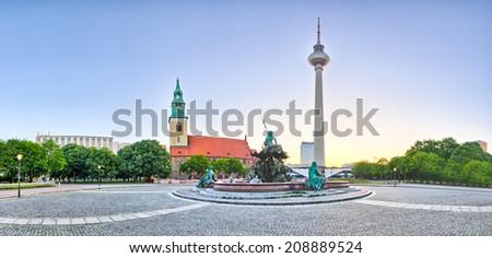 Panoramic view on Alexanderplatz in Berlin, Germany - stock photo