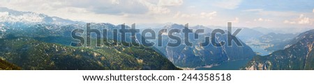 Panoramic view on Alps and lake Hallstattersee from Krippenstein Plateau in Austrian Alps  - stock photo