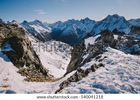Panoramic view on Alps. Winter mountains in Les deux Alpes, France